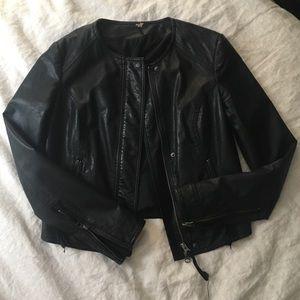 Free People Lace Back Faux Leather Moto Jacket